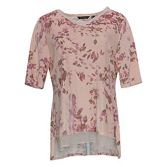 H de Halston Women's Top Printed Velvet V-Neck Knit Pink A345774