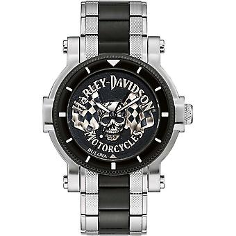 Harley Davidson 78A124 Men's Skull And Flags Wristwatch