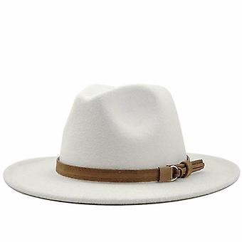 Women Men Wool Fedora Hat With Leather Ribbon
