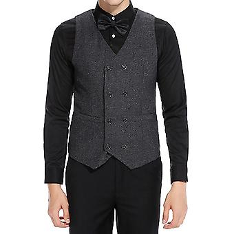 YANGFAN Mens Retro Suit Vest Double Breasted V Neck Waistcoat