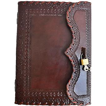 """10"""" Leather Journal with Lock Writing Pad Blank Notebook Handmade Notepad"""