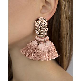 Frynser Kvast øreringe i sort farve
