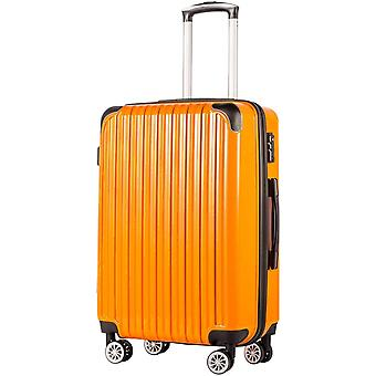 COOLIFE Suitcase Trolley Carry On Hand Cabin Luggage Hard Shell, Orange, L(78cm 99L))