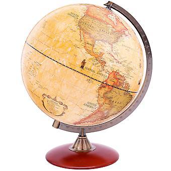 Exerz x-large dia 30 cm antique globe with a wood base 30cm antique