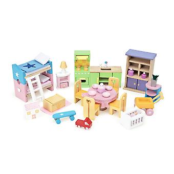 Le toy van - wooden dolls house full starter furniture & accessories play set for dolls houses | dol