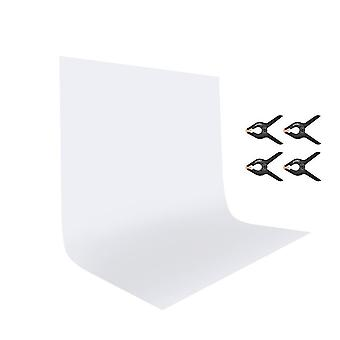 Utebit white backdrop with 4 photography clamps 6x9ft/1.8x2.8m polyester foldable video studio white