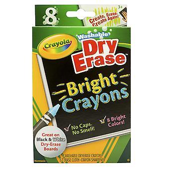 Crayola Dry Erase Washable Crayons, Bright Colors, 8/Box