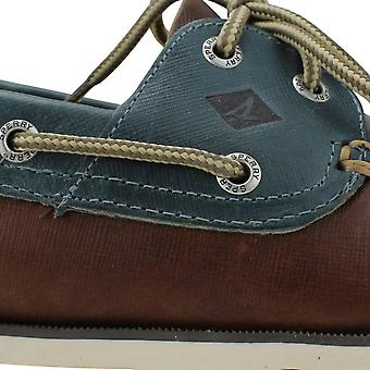 Sperry Leeward 2-Eye DK Tan/Blue STS15000 Men's