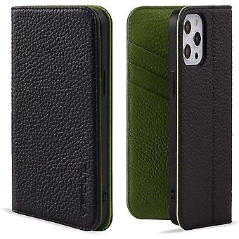 VISOUL iPhone 12 mini Case, Genuine Leather Magnetic Closure Book Stand Wallet Cover