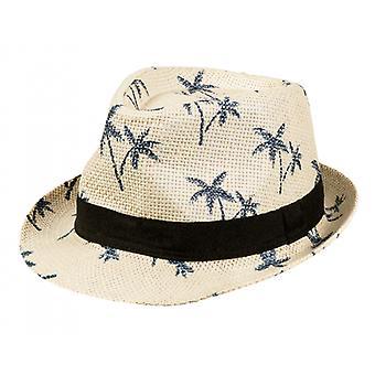 Dress-up hat Palms Polyester Ivory White / Black