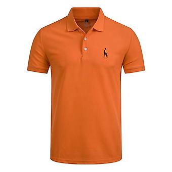 Man Polo Shirt Casual, Deer Embroidery, Cotton Short Sleeve