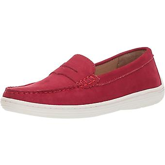 Driver Club USA Unisex Genuine Leather Casual Comfort Slip On Moccasin Penny Loafer Driving Style, red Nubuck, 11 M US Little Kid