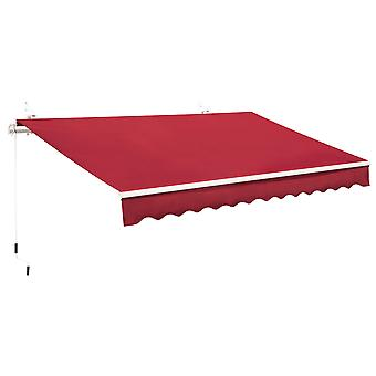 Outsunny 4x2.5m Retractable Manual Awning Window Door Sun Shade Canopy with Fittings and Crank Handle Wine Red