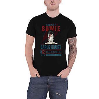 David Bowie T Shirt Earls Court 1973 Pôster novo Oficial Eco Mens Black