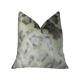 "Plutus Ivory Rabbit Fur Handmade Throw Pillow, (20"" X 36"" King)"
