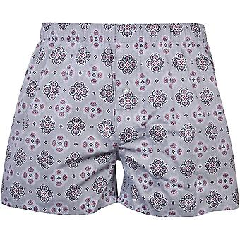 Hanro Fancy Woven Geo Print Boxer Shorts, Ornament Grey