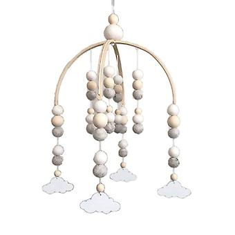 Baby Wool Balls Wooden Mobile Rattles Bed Bell Wind Chime