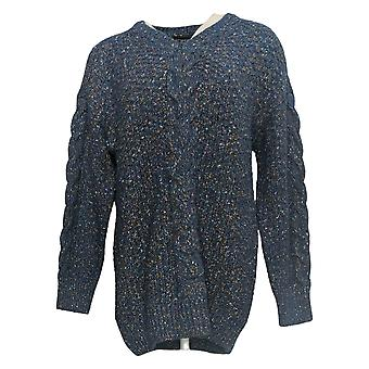 Adrienne Vittadini Women's Sweater Cable Knit V Neck Blue