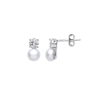 Jewelco London Ladies Rhodium Sterling Silver CZ & Freshwater Cultured Pearl 88 Dual Paciência Drop Brincos 6mm