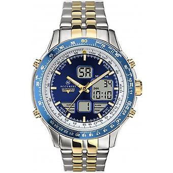 Accurist 7322 Digitální modrá dvoubarevné pánské hodinky z nerezové oceli