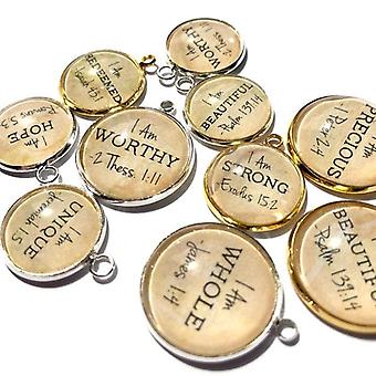 """i Am"" Affirmations – Scripture Charm Set For Jewelry Making, 20mm"