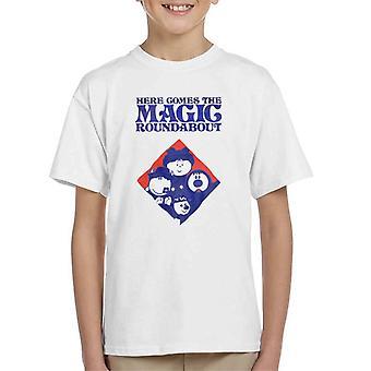 The Magic Roundabout Retro Blue Tone Diamond Kid's T-Shirt