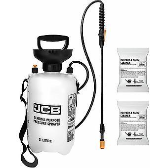 JCB Garden 2 X 100ml Path & Patio Cleaner Sachets 5L Pressure Sprayer