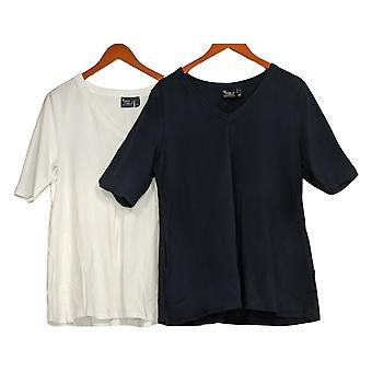 Women With Control Washed Cotton Jersey Set Of 2 V-Neck Tops Blue A393299