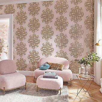 Elle Decoration Baroque Damask Wallpaper Blush Pink Gold 1015405