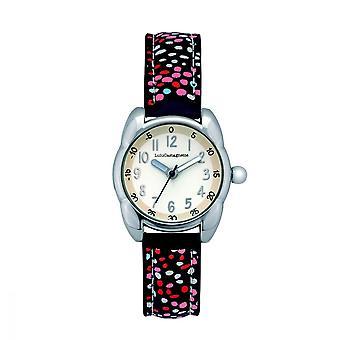 LuluCastagnette Girl Watch - matte white dial - blue bracelet with patterns
