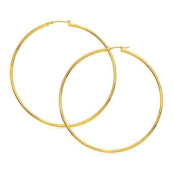 Boucles d'oreilles 14k Yellow Gold Large Polished Hoop
