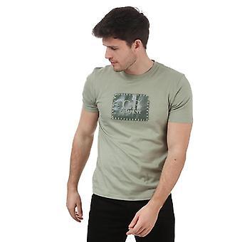 C.p. company men's green jersey 30/1 box logo t-shirt