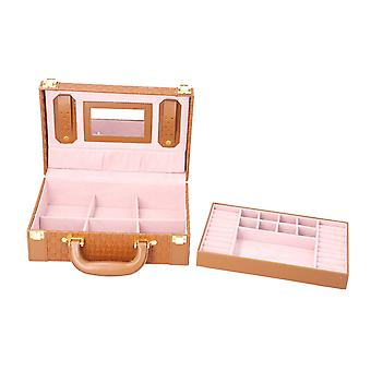 Woven Texture Briefcase Design 2-Layer Jewellery Box in Brown