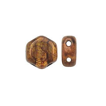 Czech Glass Honeycomb Beads, 2-Hole Hexagon 6mm, 30 Pieces, Topaz Bronze Picasso