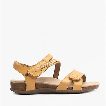 Earth Spirit Bria Ladies Leather Touch Fasten Sandals Amber