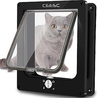 Türen für Katzen, Tür für Haustiere, magnetisch, mit 4-Wege-Drehschloss für Katzen, Kätzchen und Kätzchen