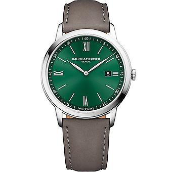 Baume & Mercier M0a10607 Classima Green & Brown Leather Strap Mens Watch