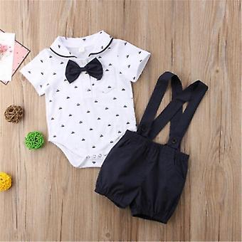 Pasgeboren baby jongen outfit romper jumpsuit + overall broek voor de leeftijd van 0-24 maanden