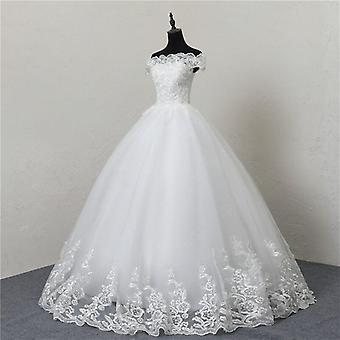 Neue Hochzeit Kleid Spitze Boot Hals aus der Schulter Ball Kleid