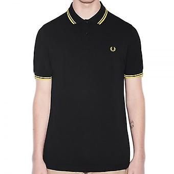 Fred Perry M3600 Polo doble con punta negro/amarillo