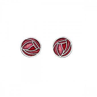 Sea Gems Mackintosh Rose Stud Earrings - Red 7685r
