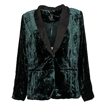 G.I.L.I. got it love it Women's Velvet Blazer w/ Satin Lapel Green A345184