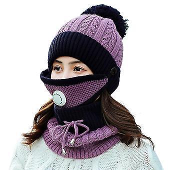 Zestaw maski do szalika zimowego z zaworem oddechowym zagęszczona czapka z dzianiny (fioletowy)