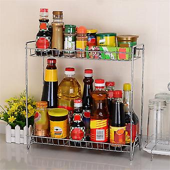 Double Layers Stainless Steel Shelf Rack Kitchen Spice Seasoning Carrier Rack