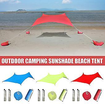 Family Beach Sunshade Lightweight Sun Shade Tent with Sandbag Anchors Large Portable Canopy for