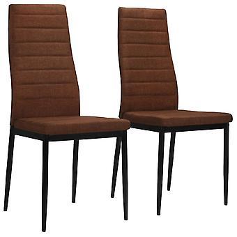 vidaXL Dining chairs 2 pcs. brown fabric