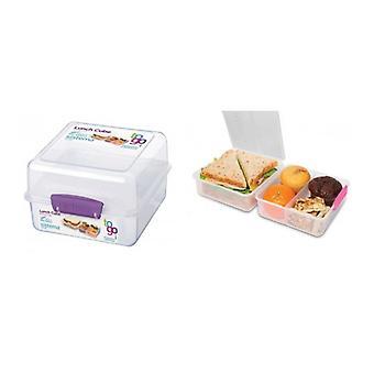 Sistema Lunch Cube att gå 1.4 L , Klar / Blå