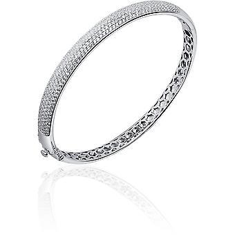 Gisser Jewels - Bracelet - Bangle Ligt Gebold set avec Zircone - 7mm De Large - Taille 60 - Gerhodineerd Zilver 925