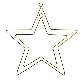 Gold Metal Hanging Decoration Star Hoops for Wedding or Event Decoration - 20cm & 28cm