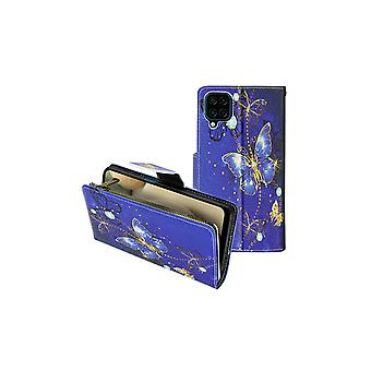 Case Samsung Galaxy A12 Multicompartment Flap and Video Holder Butterflies Gold